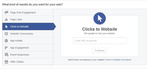 Click To Website di Facebook Ads