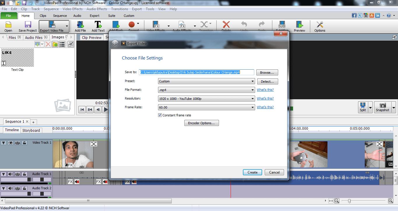 Proses Rendering Videopad Editor