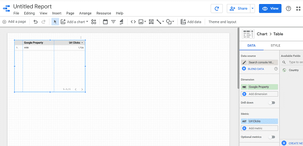 Tampilan Laporan Google Studio