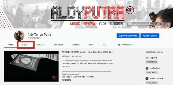 Buka URL Channel Youtube