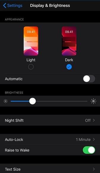 Mode Night Shift iPhone 7