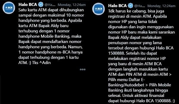 Mobile Banking BCA 2 Nomor